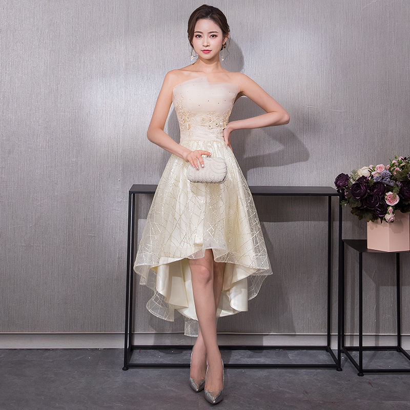 2019 New Elegant Formal   Evening     Dress   Off the Shoulder Red Carpet Party   Dress   Short Front Long Back Prom   Dresses   robe de soiree