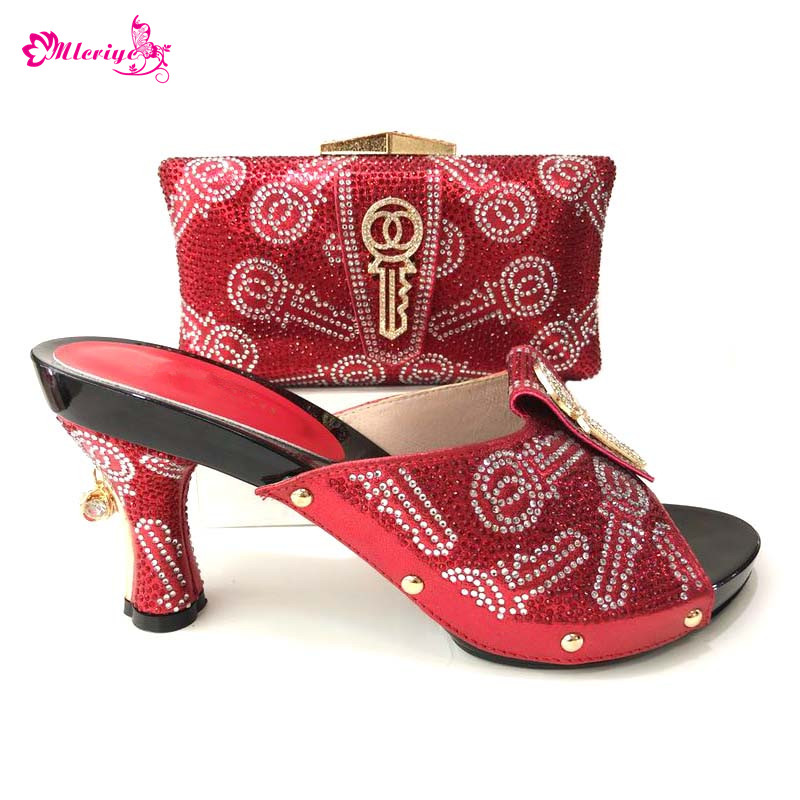 red Color Italian Shoes with Matching Bags Set Decorated with Rhinestone African Wedding Shoes and Bag Set Party Shoes and Bag latest orange color african matching shoes and bags italian in women italian ladies shoes and bag set decorated with rhinestone