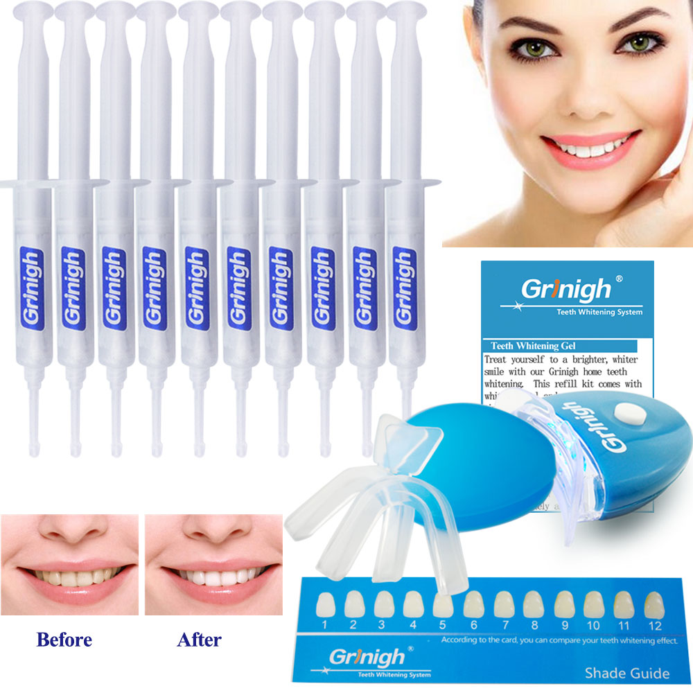 Grinigh Home 22% Carbamide Peroxide Teeth Whitening Dental Bleaching System Oral Gel Kit Tooth Whitener Free Shipping syringe tips teeth whitening gel gum barrier tip metal applicator for tooth bleaching dental supply wholesales ce free shipping