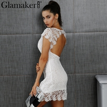 Glamaker элегантные белые кружевные платья женщин Sexy Back выдалбливают Повседневные платья Осень коротким рукавом мода праздничное платье vestidos