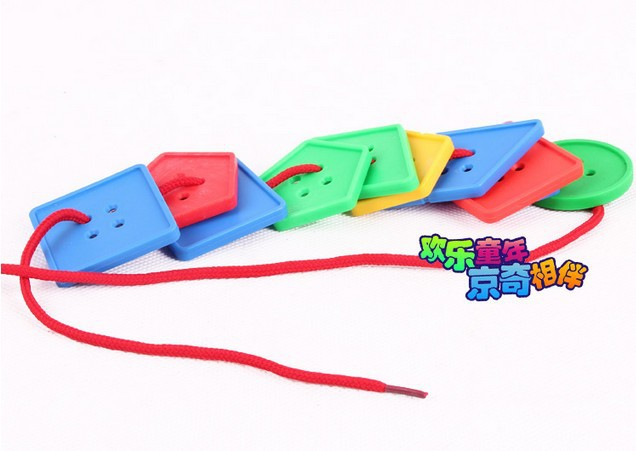 candice guo! geometry multicolour button threading board building blocks plastic stringing beads children educational toy