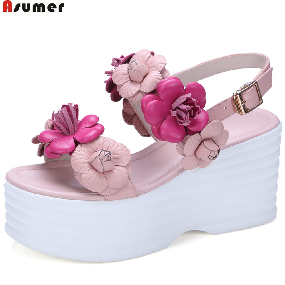 Asumer Pink White Flowers Buckle Fashion Sweet Ladies Summer Shoes