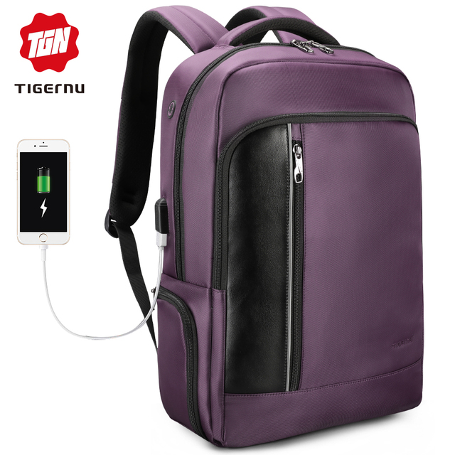 Tigernu charging urban 15.6 inch laptop backpack male RFID antitheft bag for school travel business women back pack