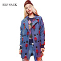 Elf SACK winter p female vintage jacquard cloth double breasted overcoat woolen outerwear female long design