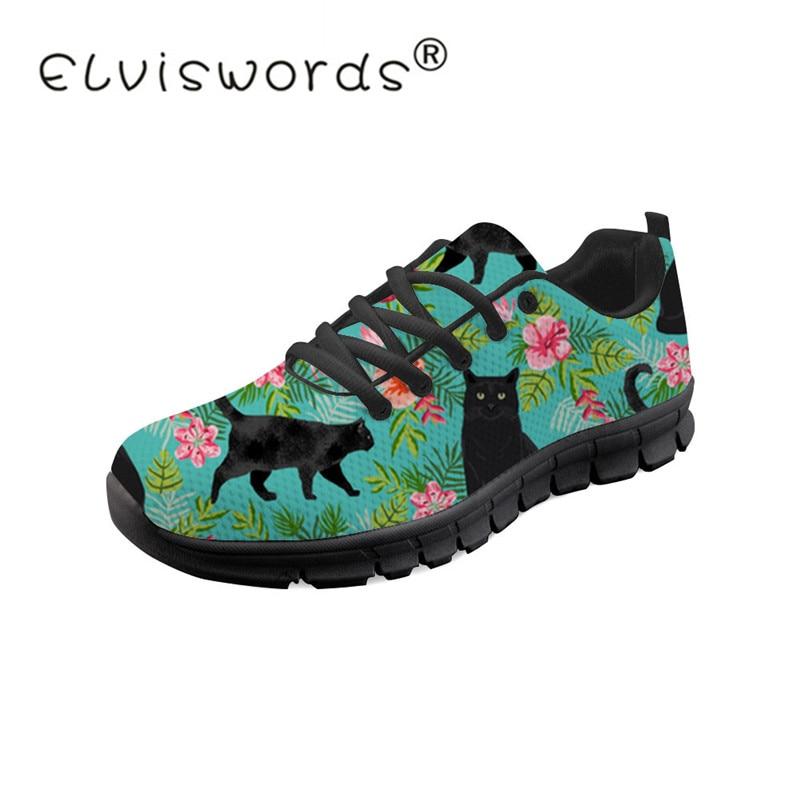 ELVISWORDS Black Cat Wine Female Sneaker For Teenager Girls Sports S Casual Flats Breathable Vulcanized Shoes Women Footwears