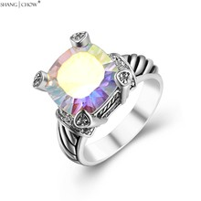 2016 Summer Luxury Fashion Jewelry for women evening party Golden Around Rainbow Mystic Topaz 925 Sterling Silver Ring R1236