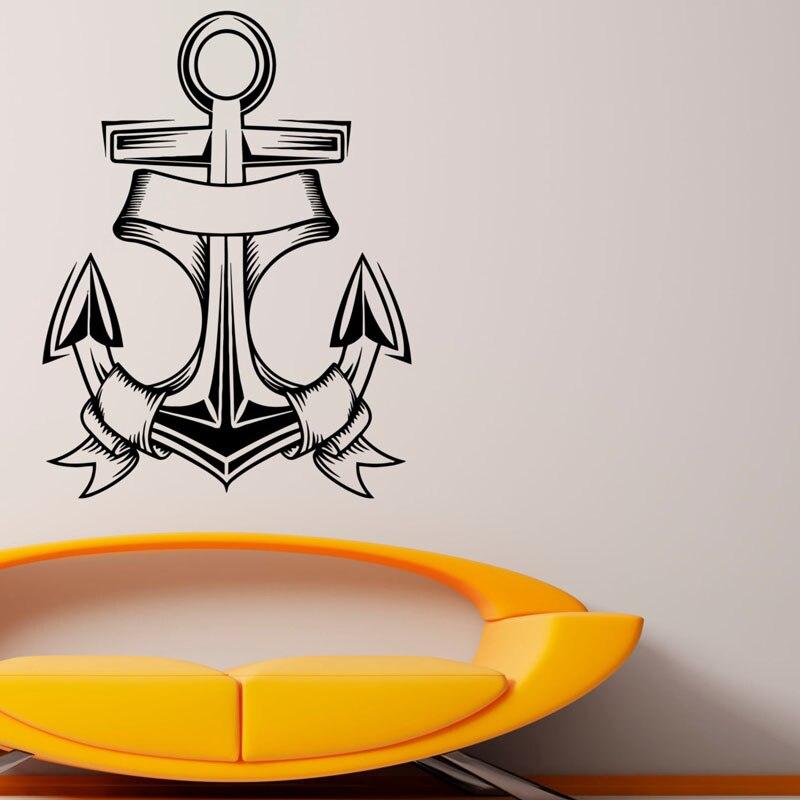ᐂNautical Anchor Wall Art Sticker Sea Ocean Removable Decor Vinyl ...
