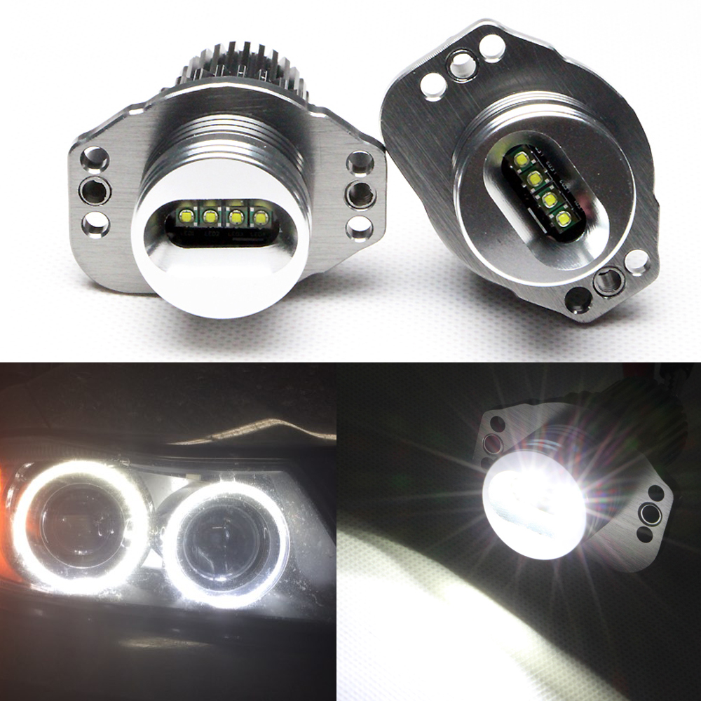 Opgrader 7000K Xenon White Led Marker BUlbs til BMW E90 E91 Cree-chips 20w High Power Error Gratis Angel Eye Halo Light