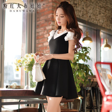 dabuwawa summer dress 2016 new casual sleeveless short sexy women dresses large sizes black pink doll