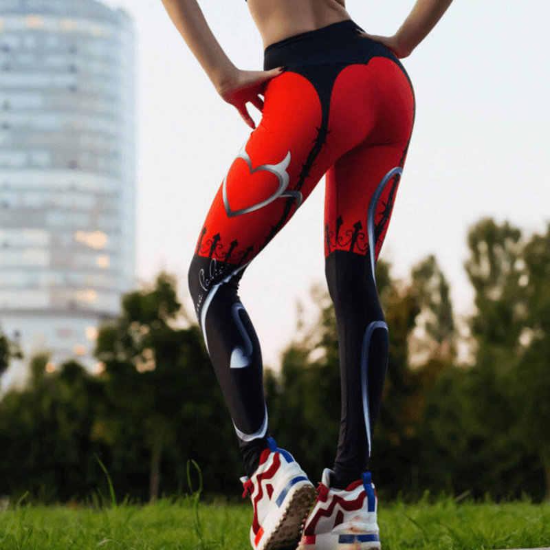 ผู้หญิงกางเกงโยคะการบีบอัดElastic Gymกีฬาพิมพ์Leggings Tightsวิ่งออกกำลังกายกีฬาสาวกางเกง