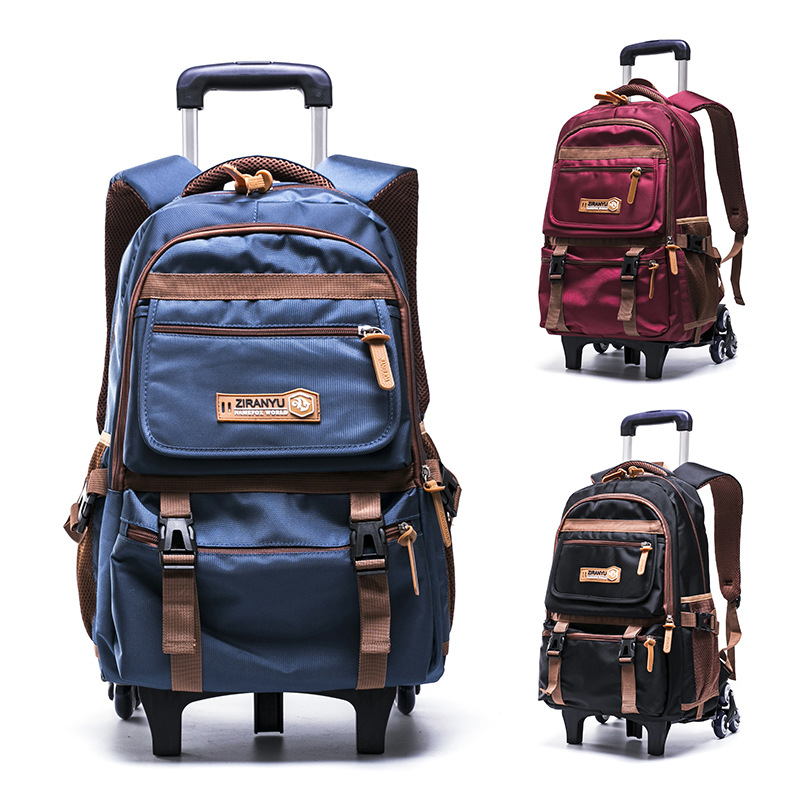 Grades 4 9 Kids Trolley Schoolbag Book Bags Boys S Backpack Waterproof Removable Children School With 3 Wheels Stairs In From Luggage