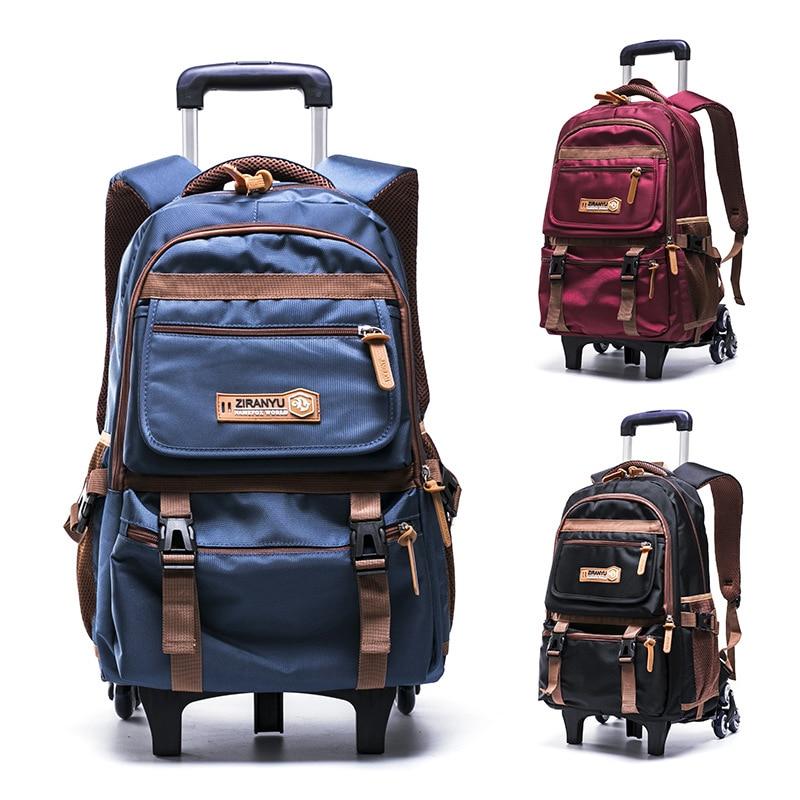 dffe9787ae Grades 4-9 Kids Trolley Schoolbag Book Bags boys girls Backpack waterproof Removable  Children School Bags With 2 6 Wheels Stairs