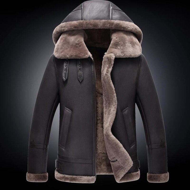 men real leather jacket fur genuine leather coat winter coldproof sheepskin jackets detachable hood shearling leather coats