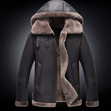 2a4e16361fe De los hombres abrigo de piel de cuero genuino de los hombres chaqueta  invierno Coldproof de piel de oveja chaquetas con capucha.