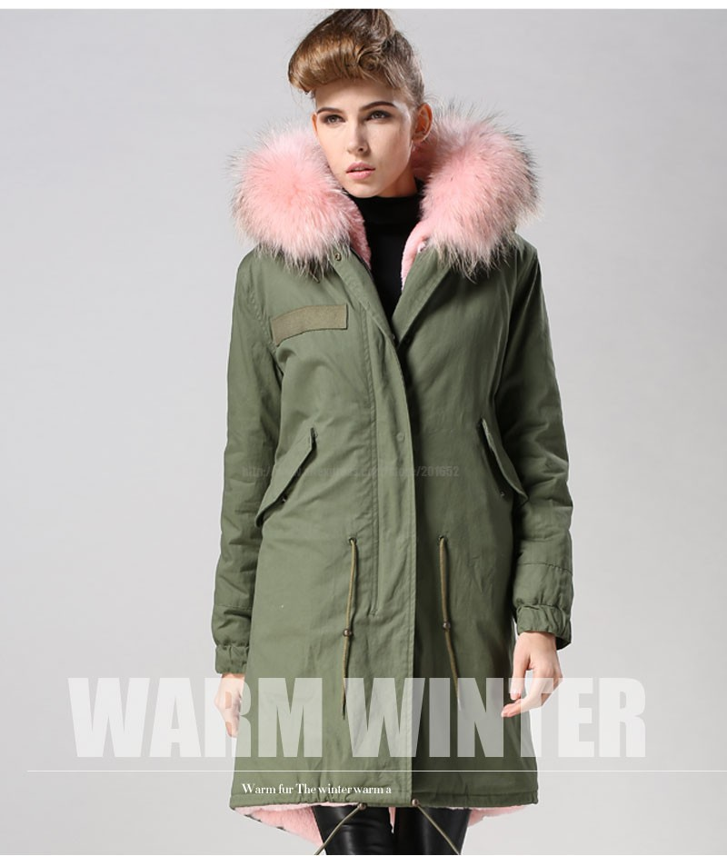 Factory wholesale price Women's Vintage Retro Fur Hooded Military Parka Jacket Coat with pink lined and collar fur mr 29