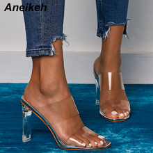 Aneikeh 2020 New Summer PVC Jelly Shoes Slides Crystal Open Toed Thin Heels Women Transparent Sexy Slippers Pumps Classics41  42
