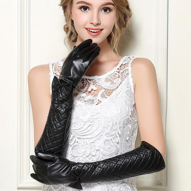 Style russe Ultra manches longues demi-doigt gants en cuir véritable gants en peau de mouton dames gants longs bras manchette B-0890