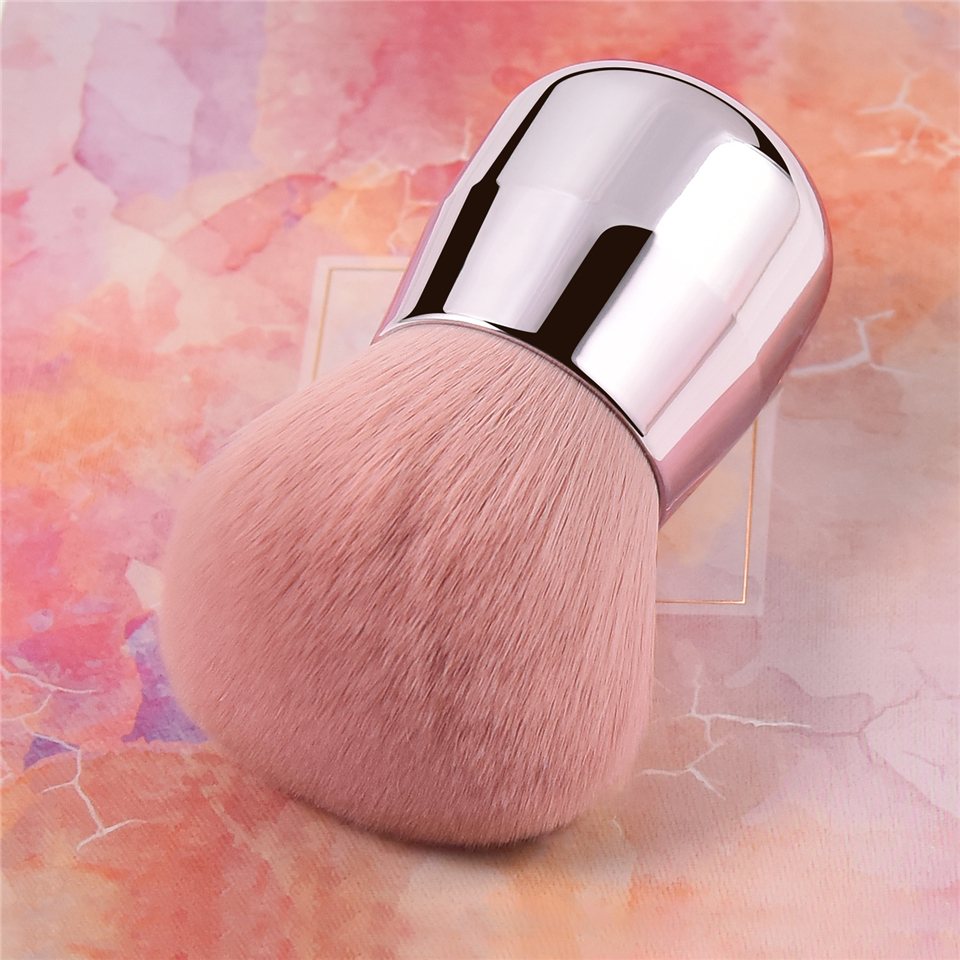 BBL Pro Pink Face / Body Cheek Kabuki Makeup Powder Foundation Brush Soft & Fluffy Portable Make Up for Blending Setting