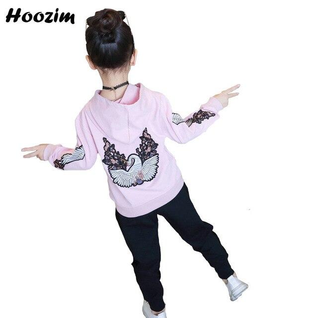 Спортивный костюм для девочек 10 11 для детей 12 лет милый цветок и Лебедь толстовки + штаны; Детская осенняя одежда для девочек-подростков комплект