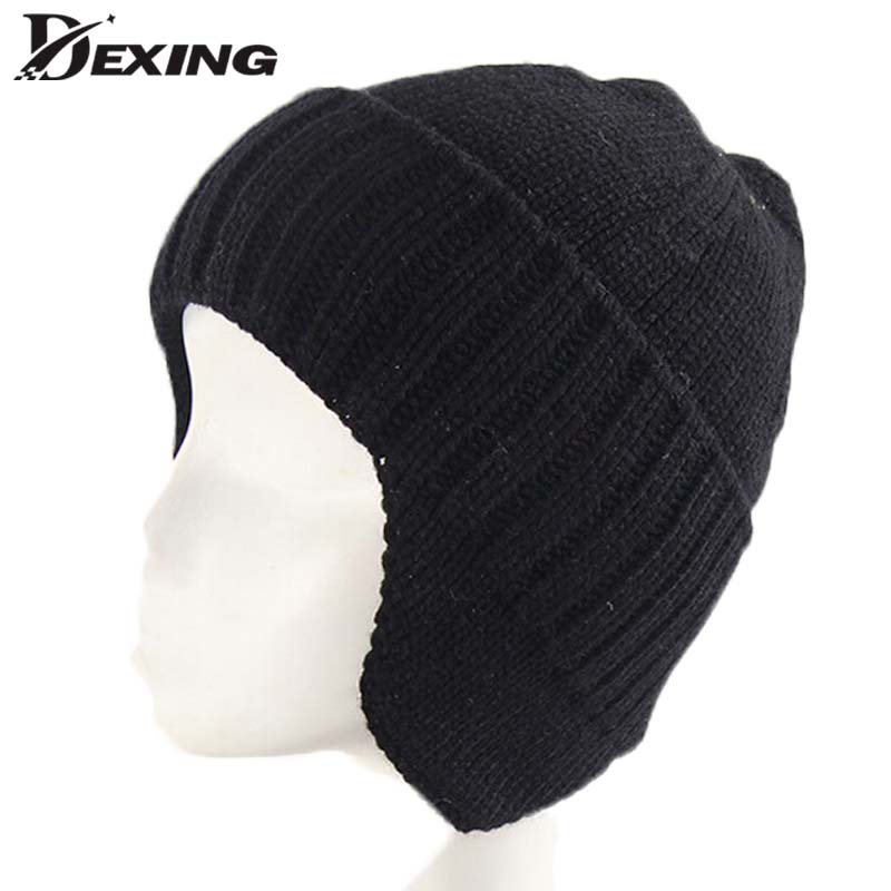 Winter Hat Knitted Bomber Hats For Men Women Thick Winter Earflap Keep Warm Caps Russian Skull Mask Bomber Hats