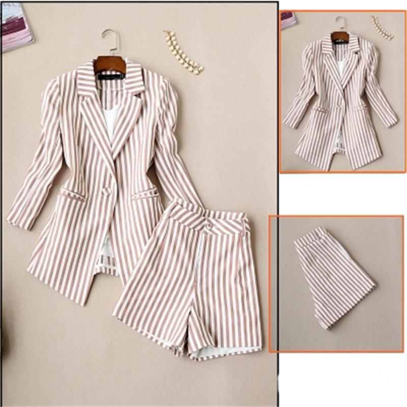 Fashion striped suit female summer ew Korean version of the ladies seven point sleeve striped suit