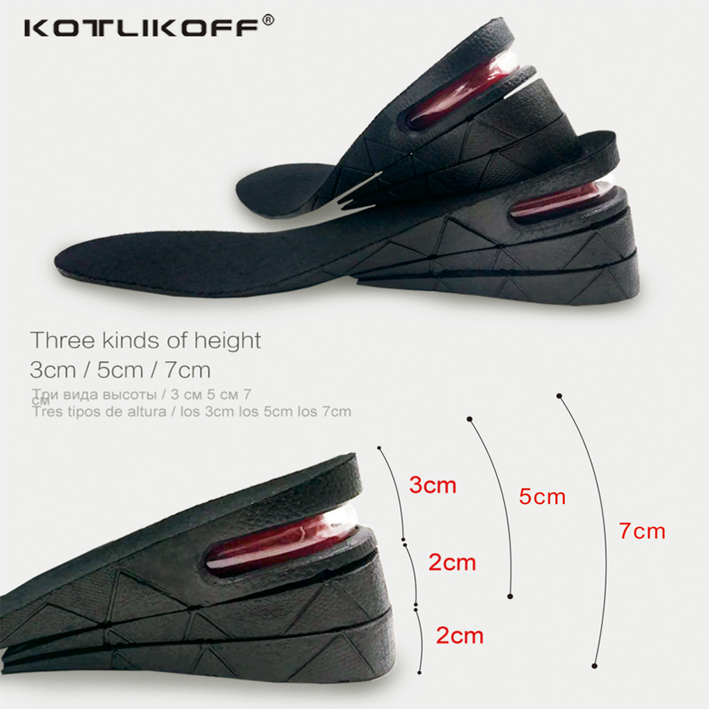 KOTLIKOFF 3-7cm Height Increase Insole Cushion Height Lift Adjustable Cut Shoe Heel Insert Taller Support Absorbant Foot Pad