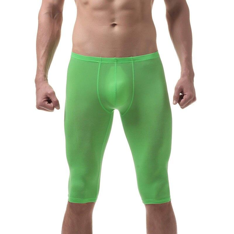 Sexy Men Underwear Erotic Ice Silk Pajamas Sleep Bottoms Nightwear Knee Length Shorts Lingerie Breathable Adults Tight Shorts