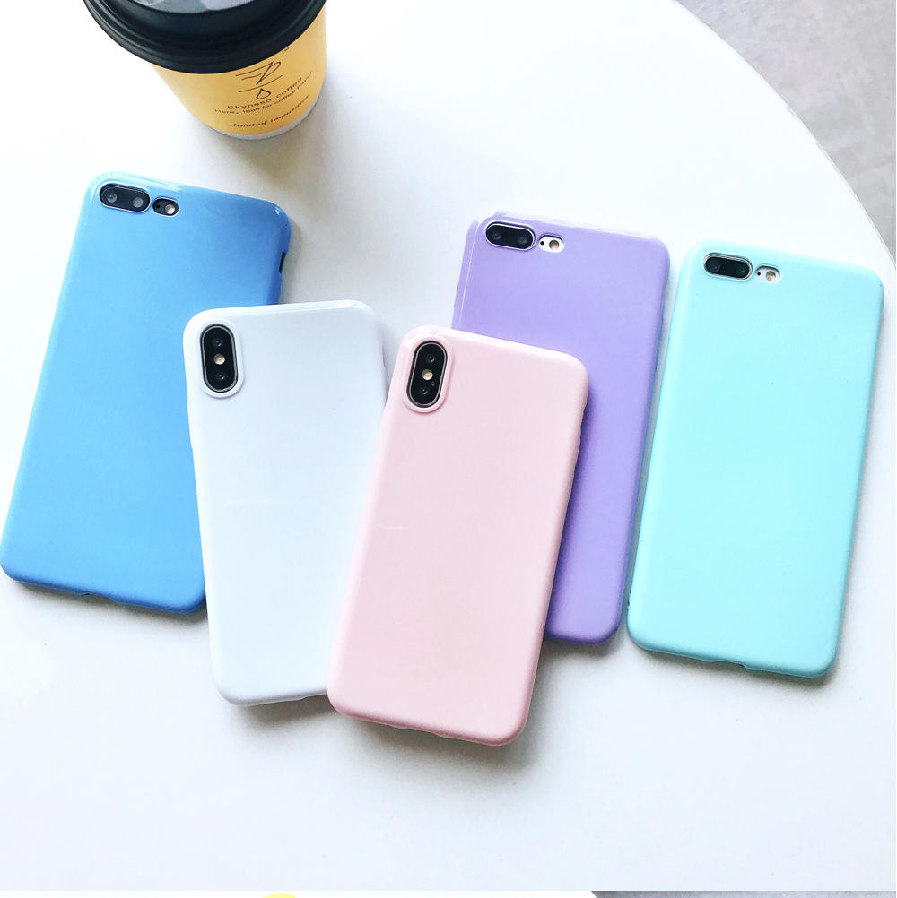 Ascromy For iPhone X Candy Color Case Luxury Soft TPU Cute Shockproof Cover Fundas For iPhone 8 Plus 7 6 6S 10 Coque Accessories (8)