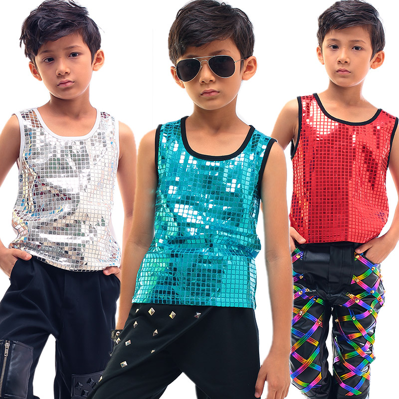 Boy Jazz Performance Costume Singer Children Hip Hop Dancing Clothes Sequin Vest Black T-Shirt Boys Tops Dance Wear DNV10056