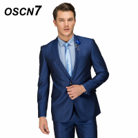 OSCN7 Wool Royal Blue Tailor Made Suit Men 2PCS Wedding Dress Suits for Men Plus Size Casual Event Costume Homme X4446 1