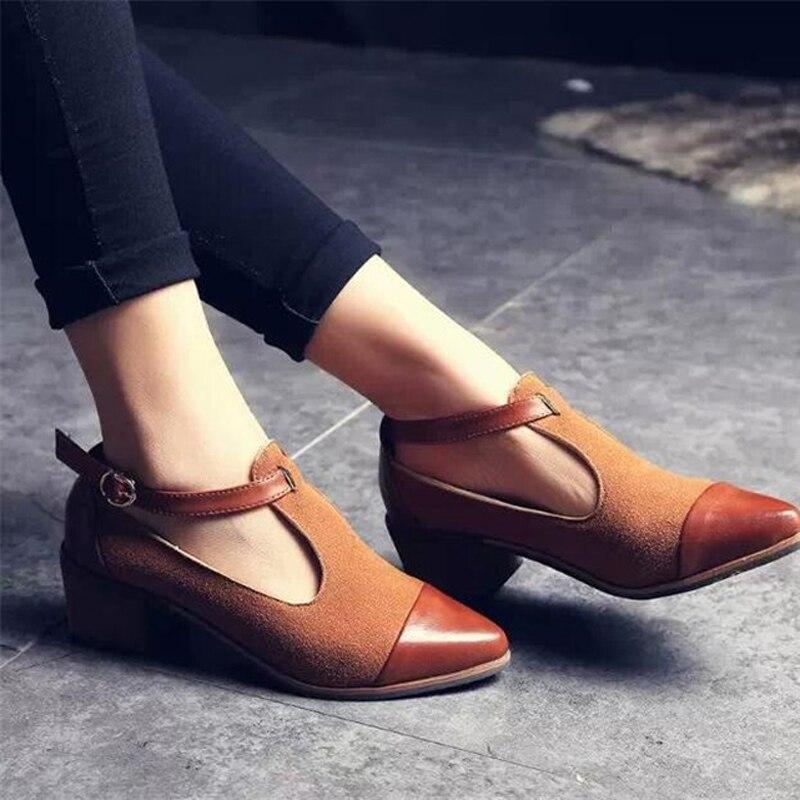 6f59ac6eaa 2018 Vintage zapatos Oxford zapatos de las mujeres del dedo del pie  puntiagudo de medicina tacón Patchwork hebilla zapatos de mujer pisos  WFS112 en Pisos de ...