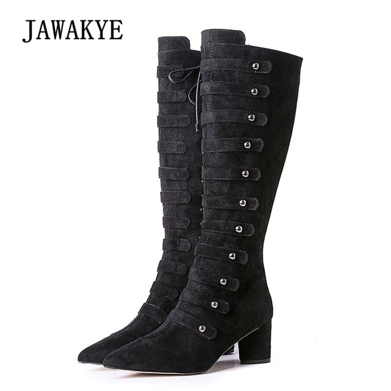 2018 Chic Design Knee High Boots Woman Pointed Toe Rivet Back Zipper Suede High Heel Boots For Women High Heel Knight Boots chic rivet embellished pink sunglasses for women