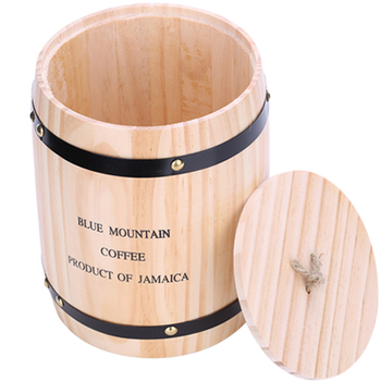 Coffee Bean Storage Tank Log Wood Barrel Coffee Container Cafe Decoration Coffee Accessories