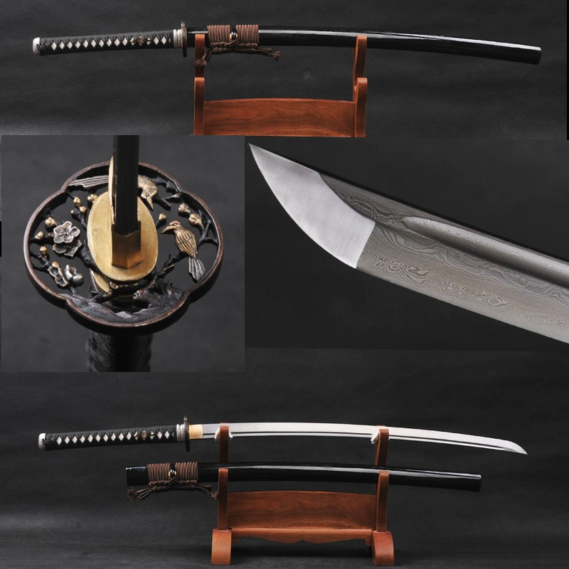 High Quality Fully Handmade Samurai Sword Damascus Folded Steel Sharp Knife 768