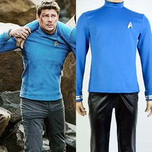 Star Trek Beyond Spock Science Officer Uniform Cosplay Costume Blue Shirt And Free Badge Super Cool Hot Sale Boy Male