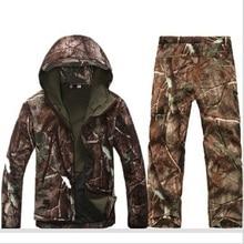 Tactique Softshell Chasse Définit Mens Hiver Sport en plein air Imperméable Respirant Chasse Pêche Bionique camouflage Vestes + pantalon