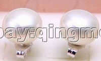 SALE Big 12 13mm White Natural Freshwater High Quality Flat Pearl Earring And Silver 925 Stud