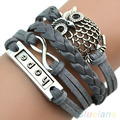 Handmade Multilayer Horse Love Friendship Lovebirds Braided Leather Cuff Bracelet Bangle Chain for Women 9Q1N