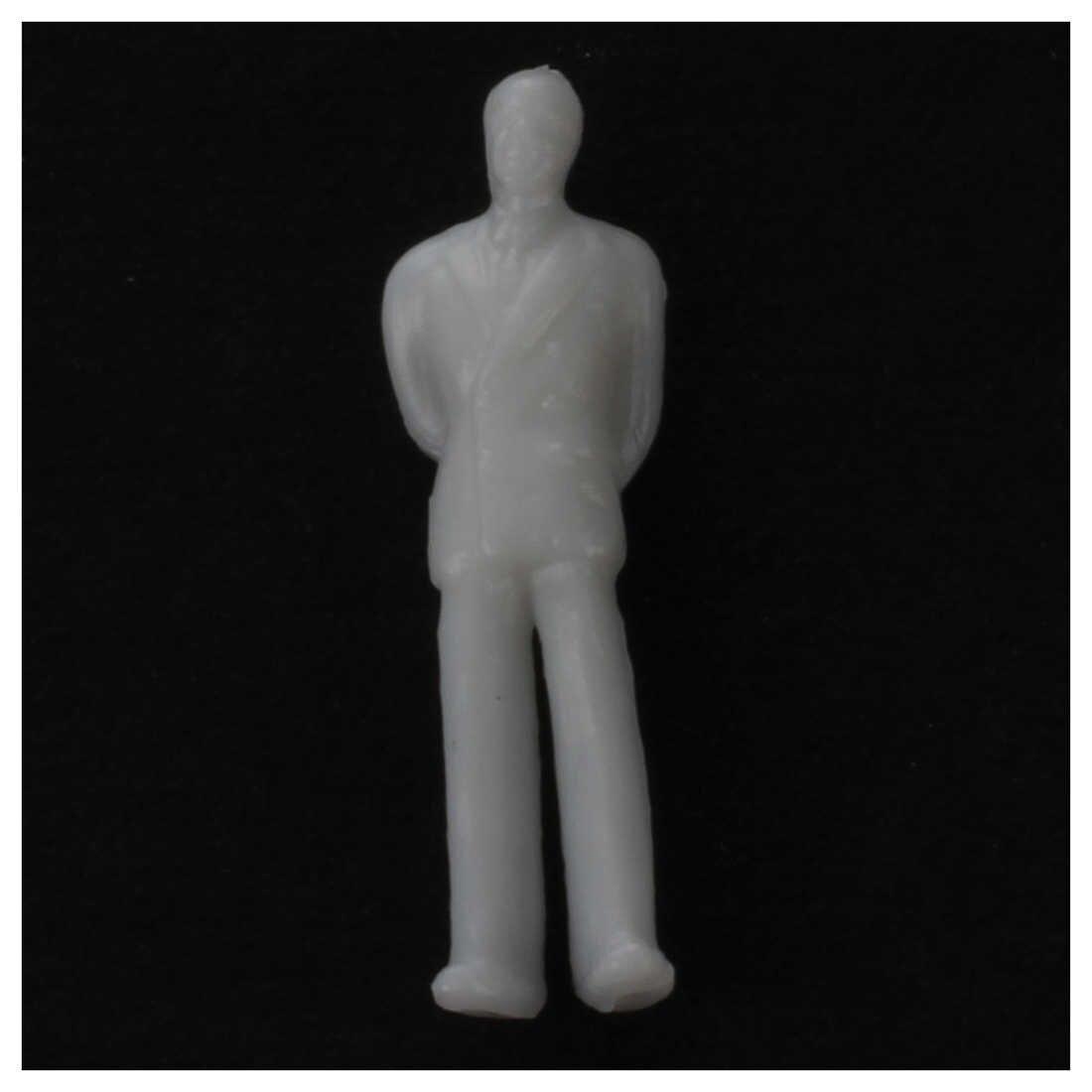 100Pcs Model Train People Figures Scale HO TT (1 to 100) -Light Grey