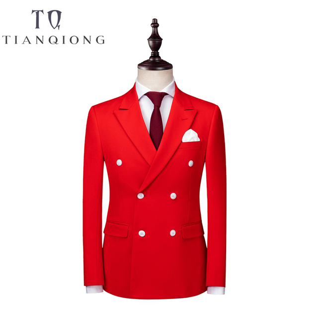 2018 New Men Red Double-breasted Suit 3 Pieces Tuxedo Slim Fit for Business and Wedding Dress Suits Blazer Pant and Vest S-3XL