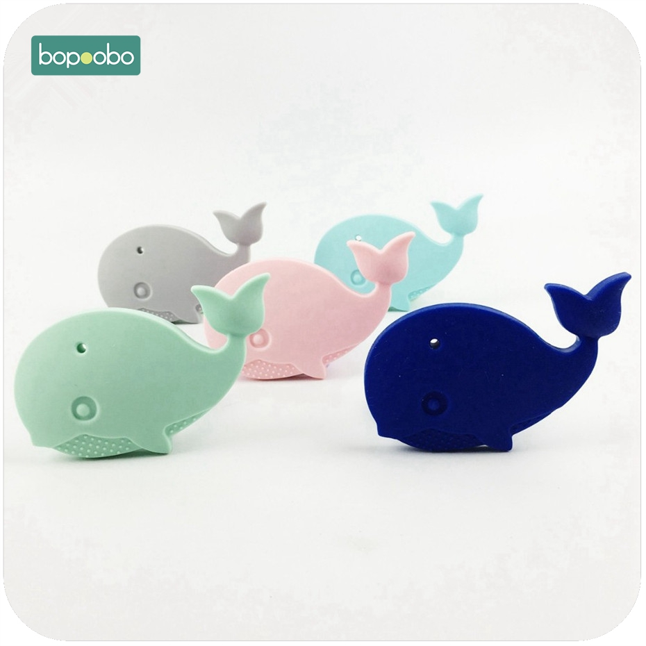 Bopoobo Silicone Whale Teether Can Chew 1pc DIY Accessory Nursing Toys Teether Pendant For Necklace Bracelet Baby Teether