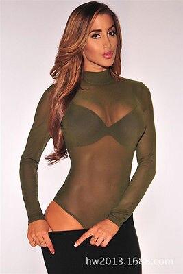 Women Sheer Crew Neck Sexy T Shirt See-Through Tee Transparent Mesh Bodycon Tops Long Sleeve Turtleneck T-Shirt Woman Blue Green