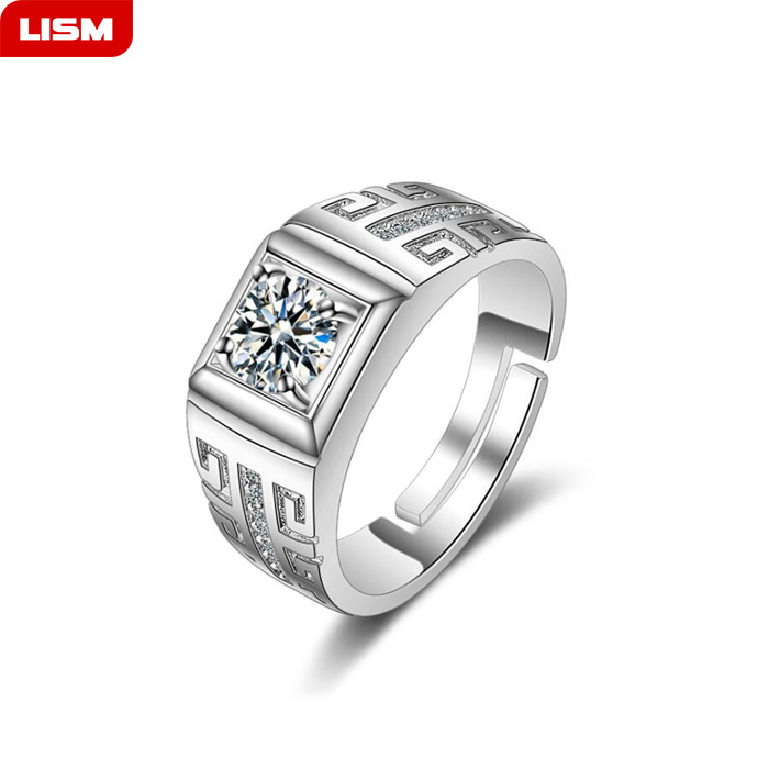 New Fashion Adjustable Classic 925 Stering Silver Color Zircon Men Ring Black Enamel Male Finger Rings Best Selling