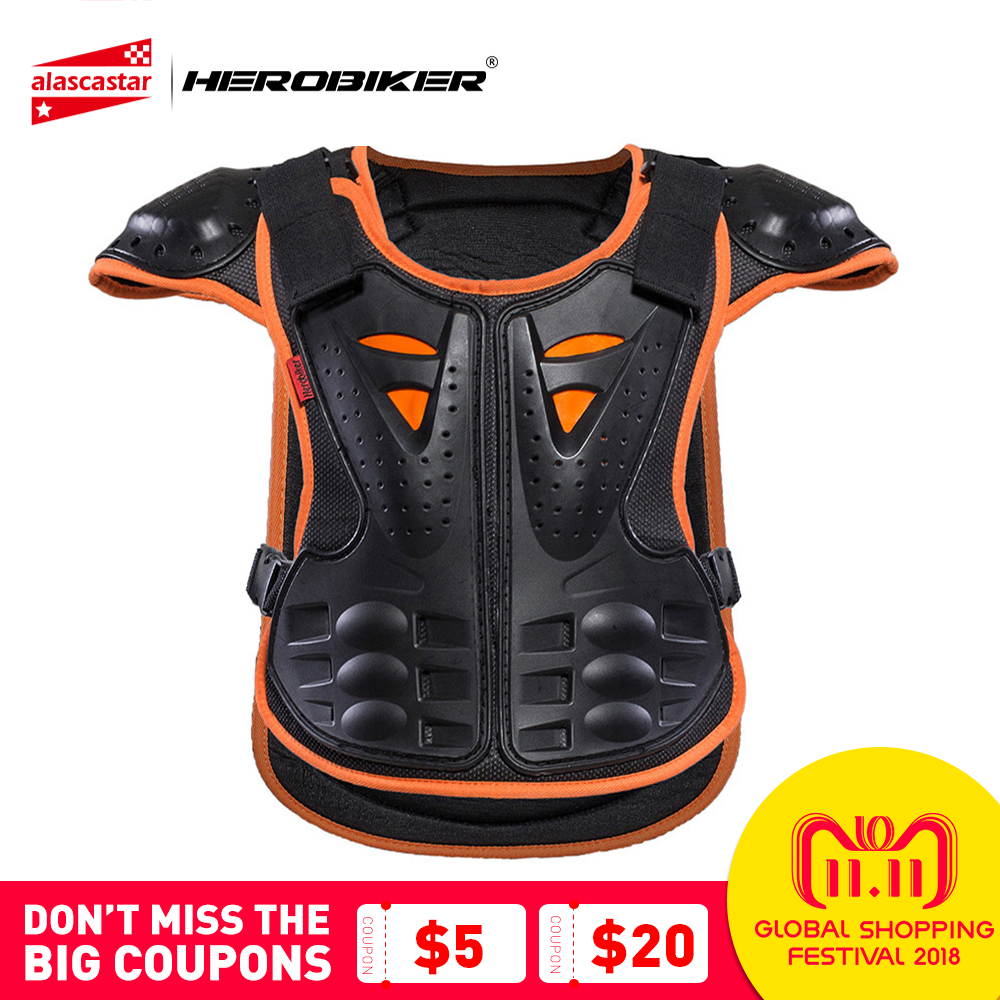HEROBIKER Kids Body Motorcycle Armor Children Armor Vest Protective Suitable for 4-12 Age Skate Board Skiing Pulley Kids Jackets herobiker armor removable neck protection guards riding skating motorcycle racing protective gear full body armor protectors