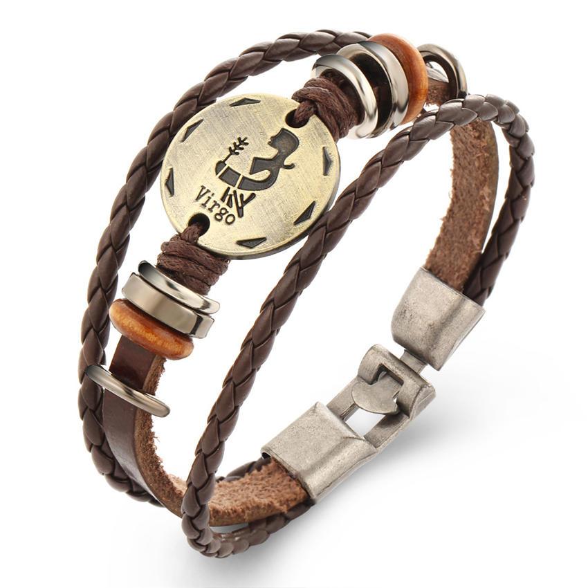 Vintage 12 Constellations Bracelet for women Fashion Jewelry Leather Bracelet Men Zodiac Signs Punk Bracelet charm lovers