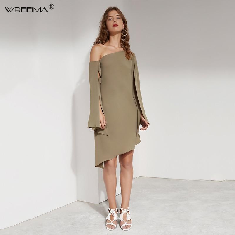wreeima Cloak Sleeves Asymmetrical Dress Women Clothes Elegant white Party Dresses 2019 Ladies Workwear spring Knee Length Dress