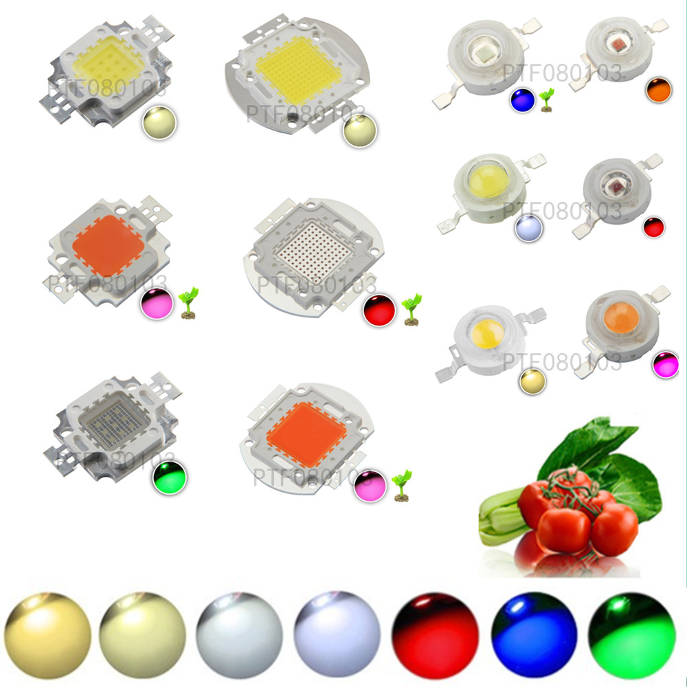 High Power LED Chip 1W 3W 5W 10W 20W 30W 50W 100W SMD COB Light Bead Warm Cold White Red Green Blue RGB Full Spectrum Grow Light стоимость