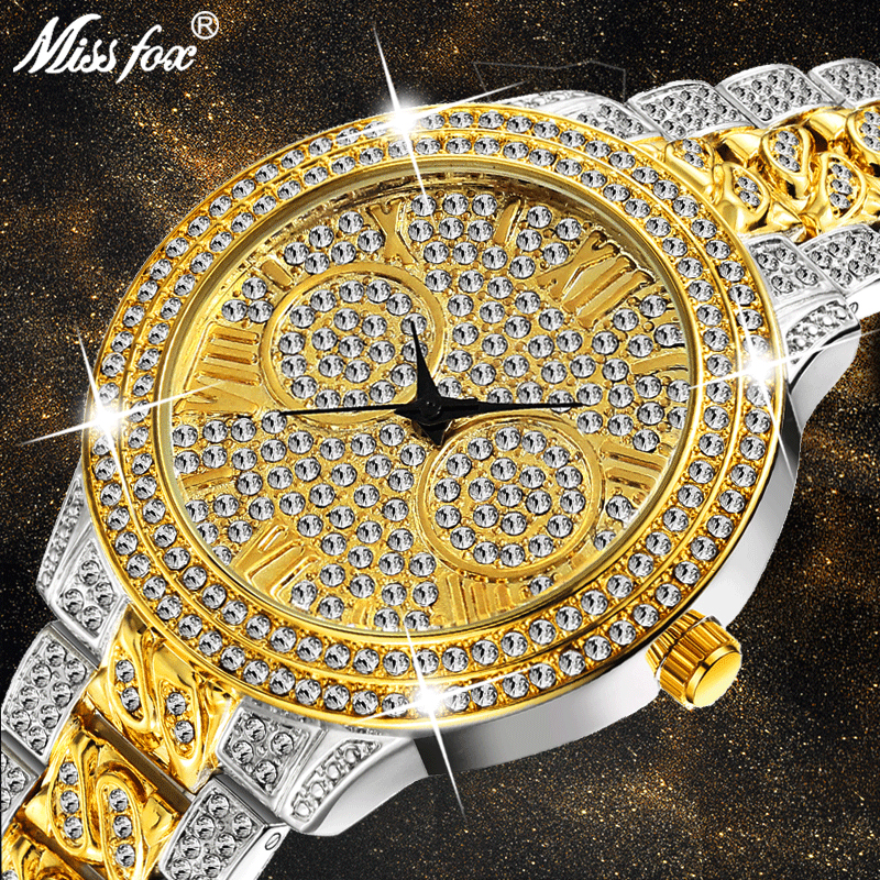 MISSFOX Luxury <font><b>Watch</b></font> Women Rhinestone Xfcs Ladies Retro Gold <font><b>Watches</b></font> Top Brand Luxury Quartz Movt <font><b>Bu</b></font> Shockproof Waterproof <font><b>Watch</b></font> image