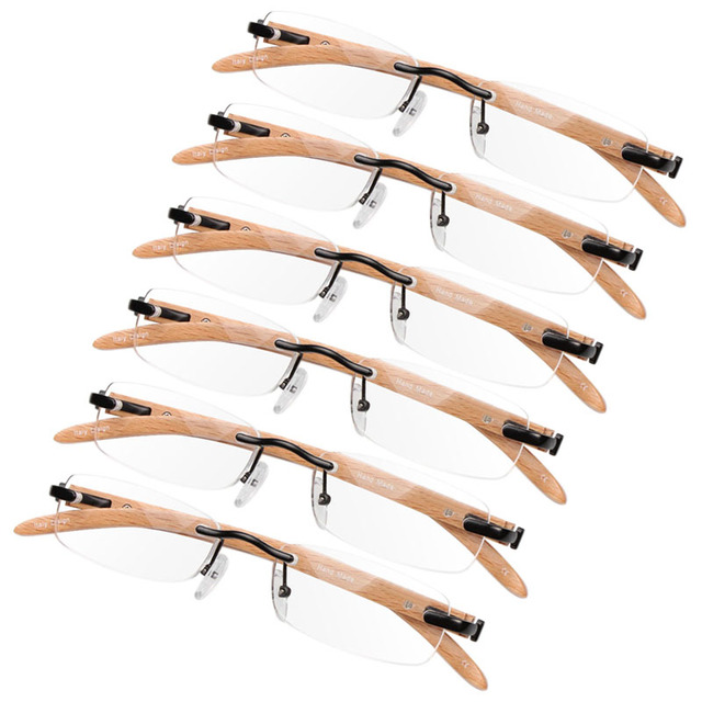 Unisex Rimless Wood Bamboo Metal Reading Glasses +1 +1.5 +2 +2.5 +3.0 +3.5 F05