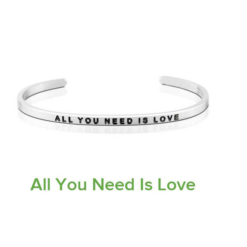 New Bangles Customized Jewelry Engraving All You Need Is Love Stainless Steel 4mm Men Jewelry Cuff Couple Open Bracelet Women in Bangles from Jewelry Accessories